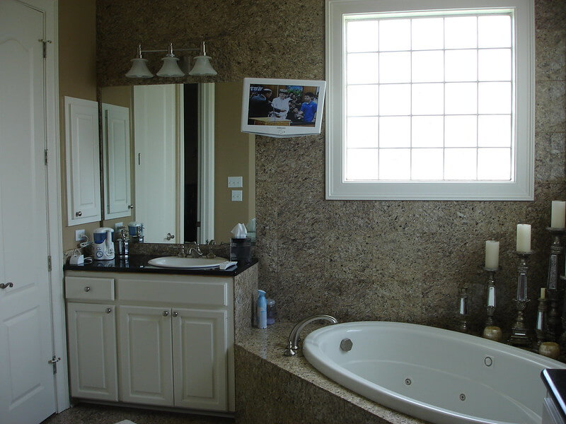 TV wall mounting in Bathroom - Quality Bathroom Renos Sydney
