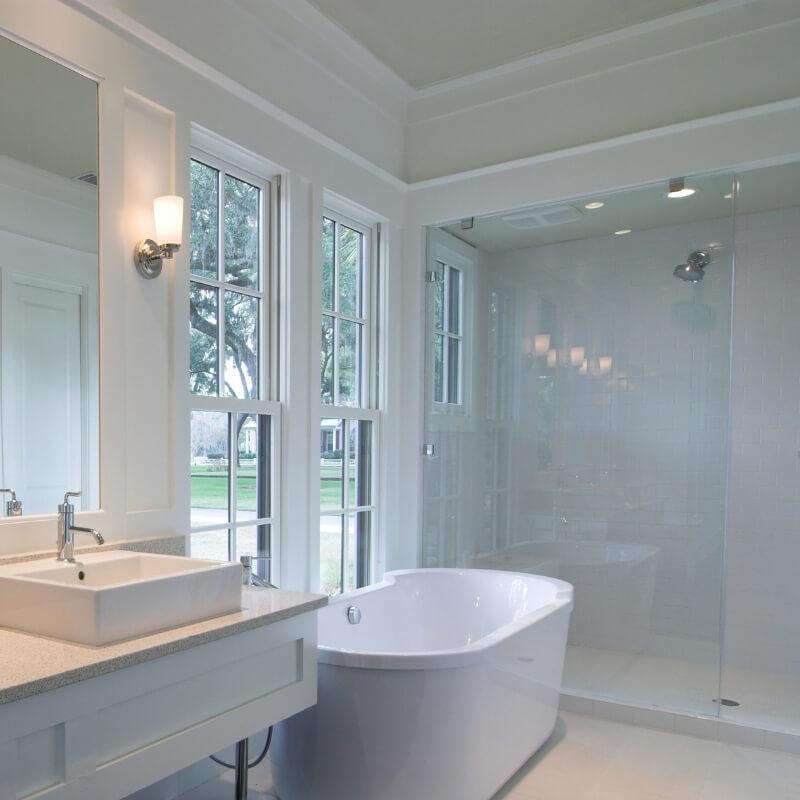 Bathroom renovation all white luxury