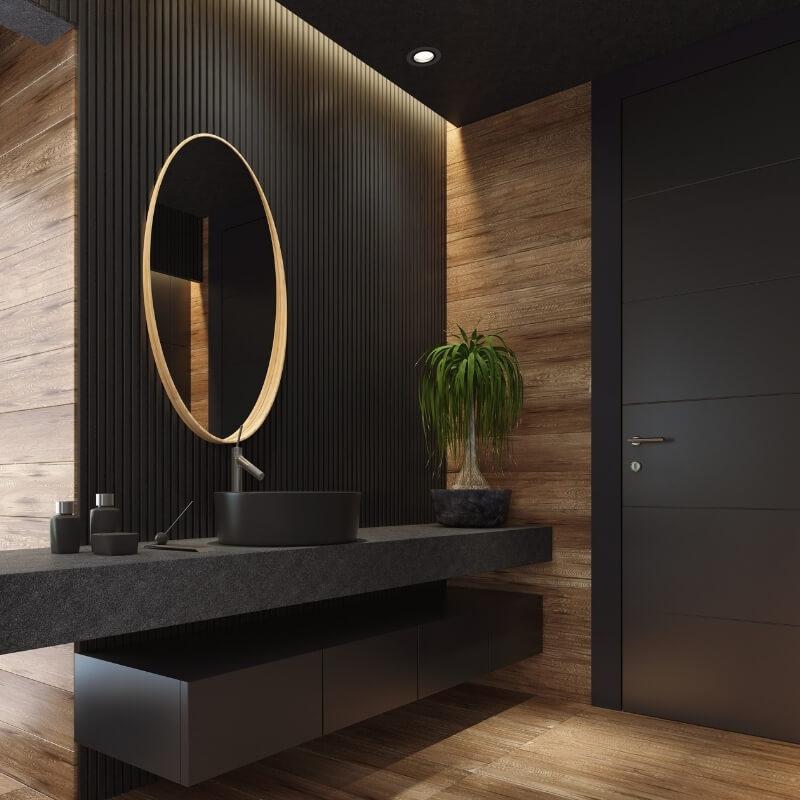 dark and intimate ensuite bathroom design