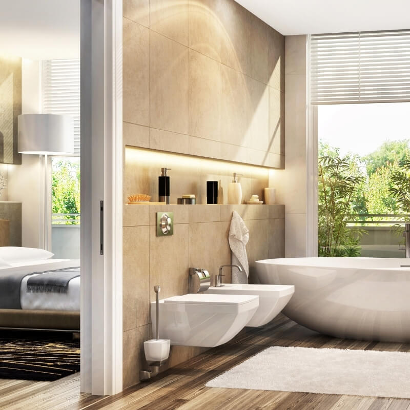 ensuite style extension of bedroom bathroom design
