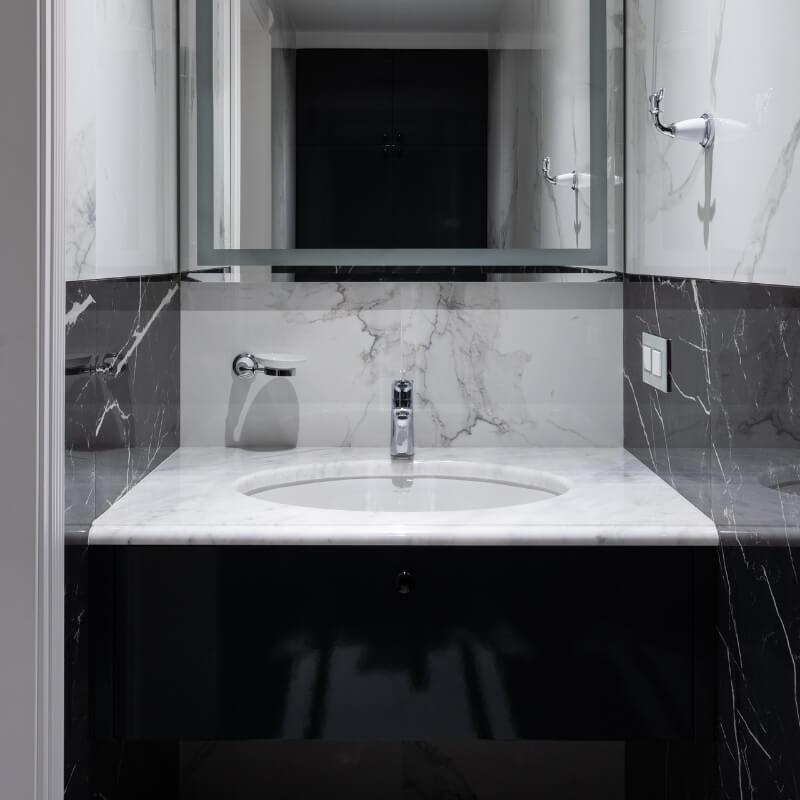 black & white marble modern half bathroom designs