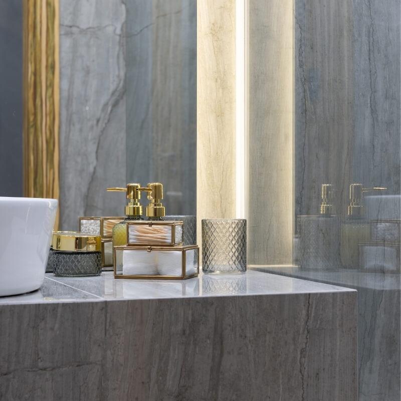 cosmetics on bathroom vanity washroom ideas