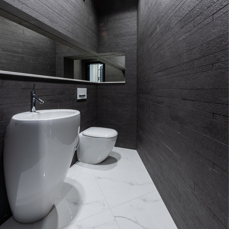 dark stone walls washroom design ideas