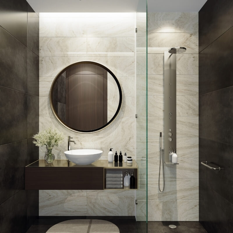 glass shower wall in small bathroom