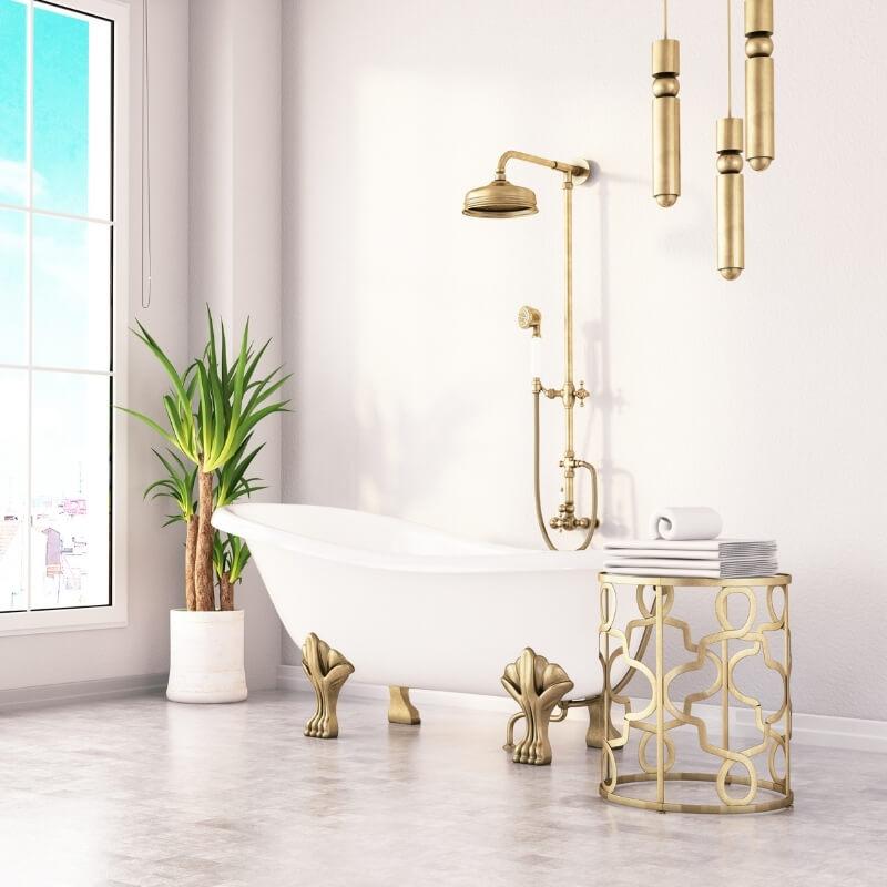 gold tapware in bathroom