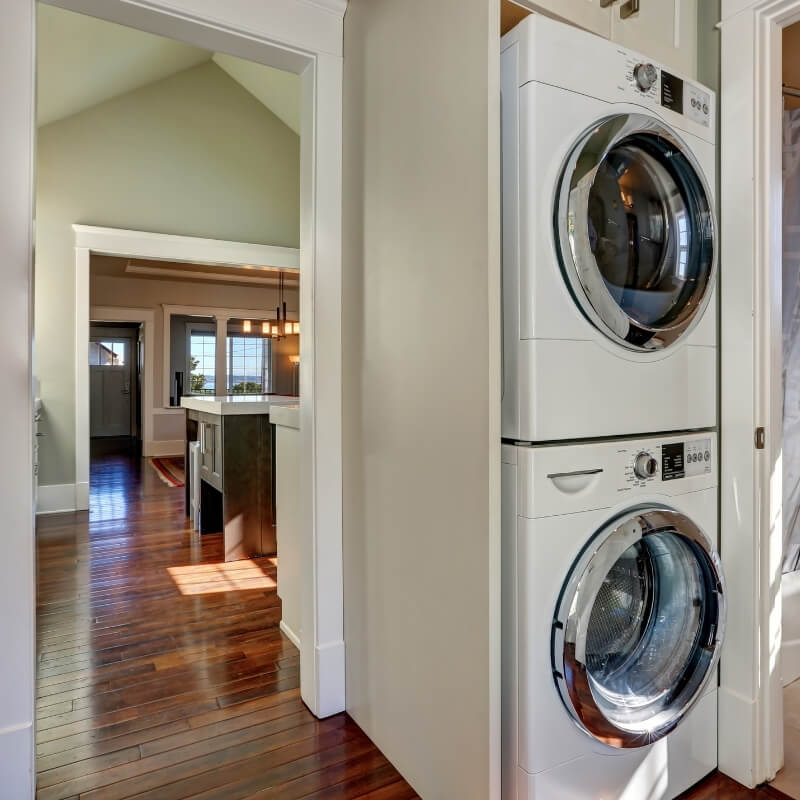 laundry design ideas appliances stacked