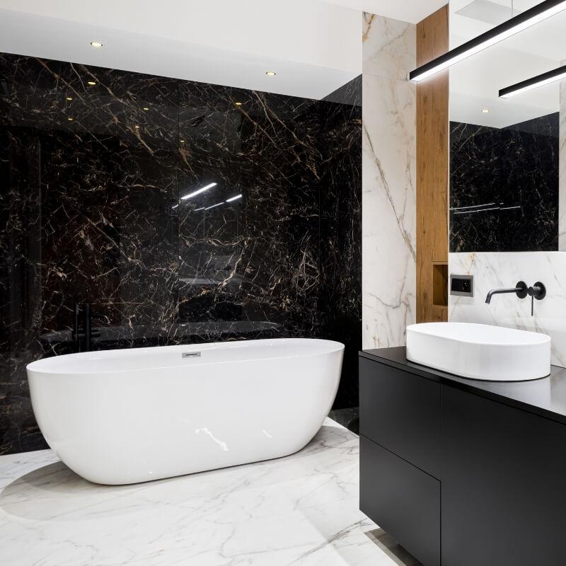 oval bath and basin luxury bathroom