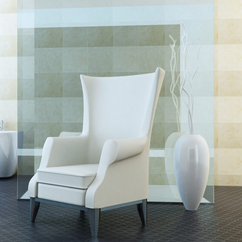 plush chair in bathroom for elderly and disabled