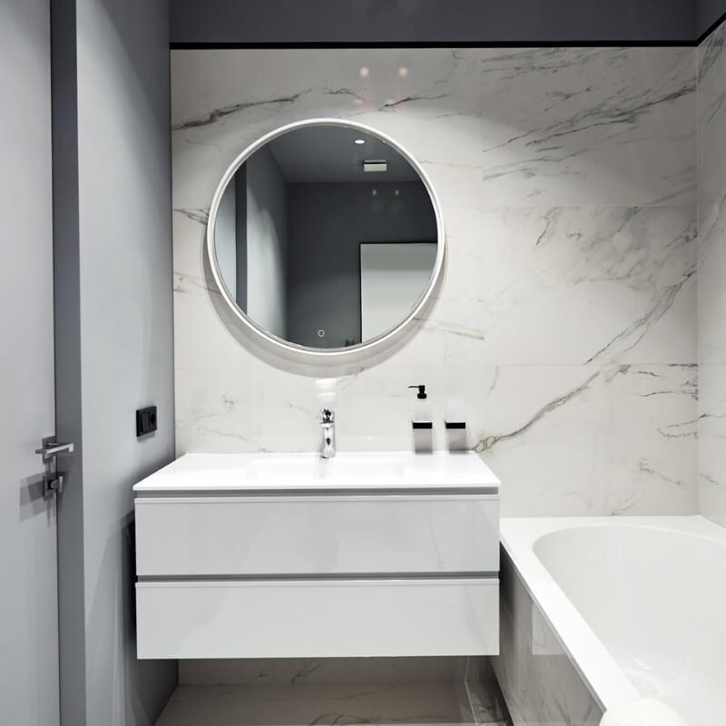 white marble wall -small bathroom